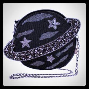 Mary Frances Saturn Orbit Black leather bag
